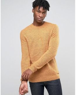 Crew Neck Knit With Fleck Wool Detail