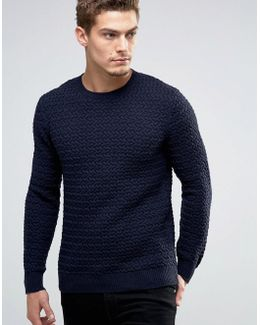 Crew Neck Knit With Loose Weave Detail