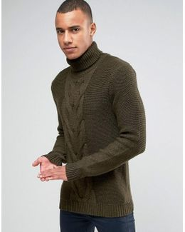 Roll Neck Knit With Cable Front Detail