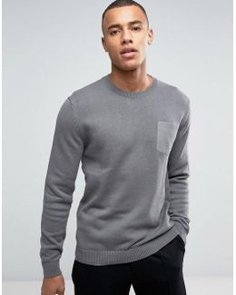 Crew Neck Knit With Pocket