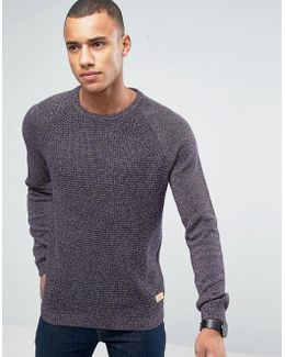 Crew Neck Jumper In Mixed Yarn