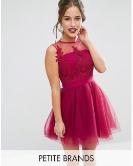 Embroidered Full Prom Mini Dress With Button Back Detail