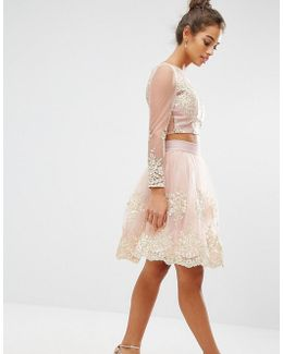 All Over Premium Embroidered Full Prom Midi Skirt Co-ord
