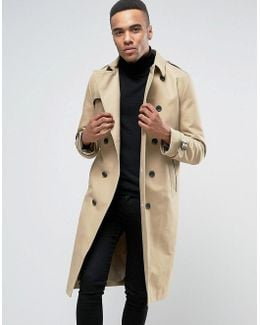 Shower Resistant Longline Trench Coat With Belt In Stone