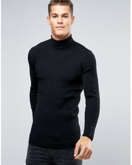 Longline Rib Knitted Roll Neck In Muscle Fit