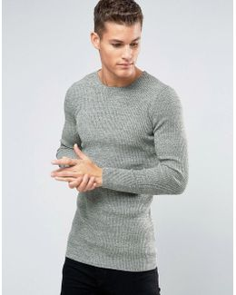 Longline Rib Knitted Crew Neck In Muscle Fit