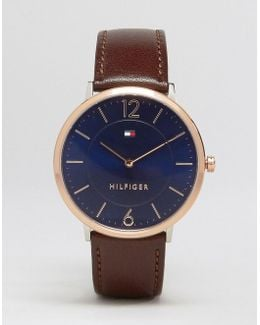 Ultra Slim Brown Leather Watch With Gold Dial