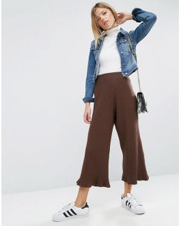Wide Leg Cropped Pants In Rib