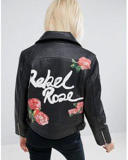 Leather Biker Jacket In Black With Rebel Rose Back Print
