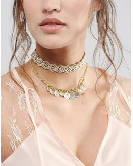 Double Row Cut Out Choker Necklace