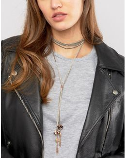 Soft Suede Charm Choker Necklace