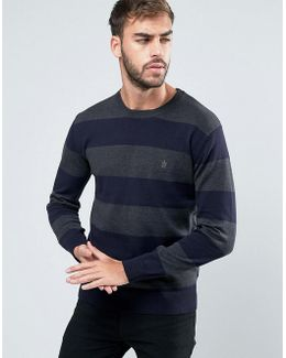 Crew Neck Wide Striped Knitted Jumper