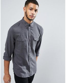 Flannel Slim Fit Shirt With Double Check Pocket