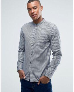 Grandad Slim Shirt With Pocket In Check