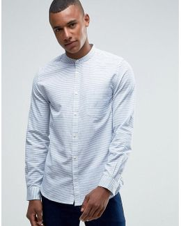 Grandad Slim Shirt With Pocket In Stripe