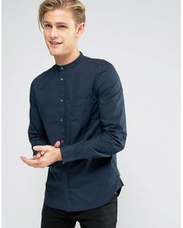 Grandad Slim Shirt With Pocket In Navy