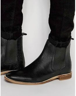 Chelsea Boots In Black Scotchgrain Leather - Wide Fit Available