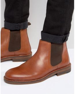 Chelsea Boots In Tan Leather With Natural Sole