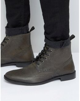 Brogue Boots In Grey Leather