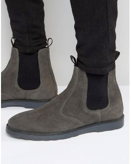 Chelsea Boots With Thick Sole In Grey Suede