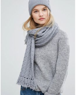 Gray Knitted Scarf And Beanie Gift Set