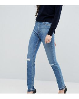 Farleigh Slim Mom Jeans In Hawthorn Mid Stonewash With Busted Knees And Let-down Hems