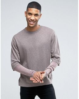 Cotton Jumper With Double Layer Sleeve
