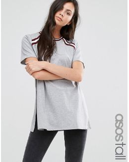 T-shirt With Stripe Inserts In Longline Fit