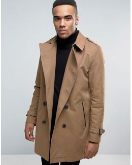 Double Breasted Trench Coat With Shower Resistance In Tobacco