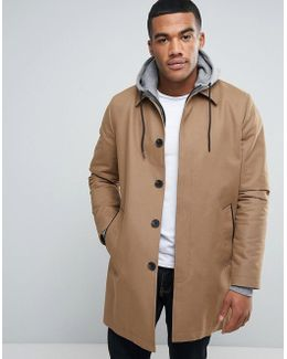 Single Breasted Trench Coat With Shower Resistance In Tobacco