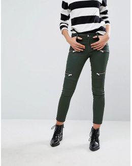 Zip Detail Skinny Jean