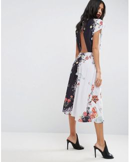 Midi Dress With High Neck And Open Back In Placement Swan Print