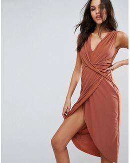 Mesh Fold Front Midi Pencil Dress