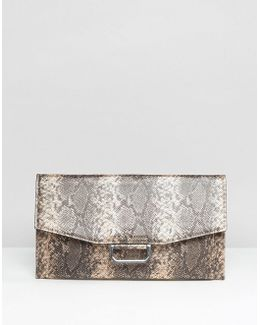 Slim Ring Detail Metallic Snake Clutch Bag