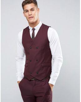 Skinny Suit Waistcoat In Dark Berry 100% Wool