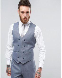Wedding Skinny Suit Waistcoat In Slate Grey Micro Texture