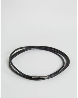 Minimal Leather Wrap Bracelet In Black Exclusive To Asos