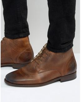 Chukka Boots In Brown Leather With Borg Lining