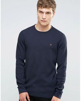 Waffle Logo Long Sleeve Top Regular Fit In Navy