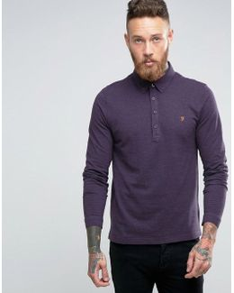 Slim Pique Long Sleeve Polo Buttondown In Purple