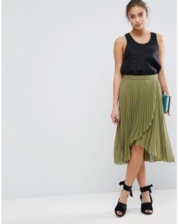Pleated Midi Skirt With Wrap Front Detail