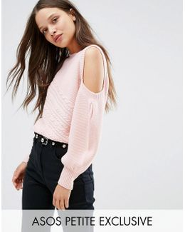 Jumper With Cold Shoulder And Cable Stitch