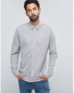 Slim Pique Button Through Shirt In Beige