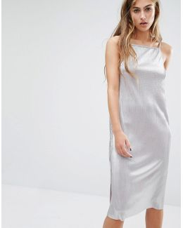 Metallic Slip Midi Dress