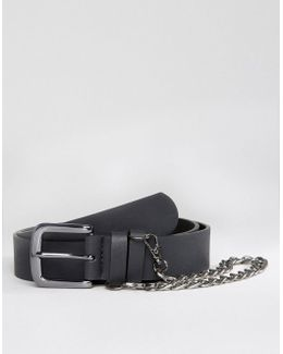 Slim Belt With Chain In Black