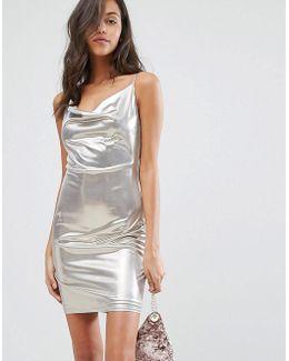 Silver Cowl Neck Cami Dress