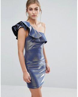 Metallic Frill Shoulder Detail Dress