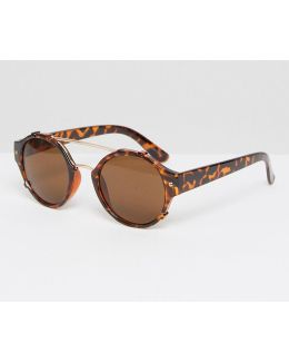 Quay Round Cross Bar Sunglasses In Brown Tortoise