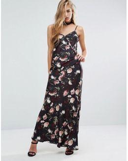 Rose Print Satin Maxi Slip Dress