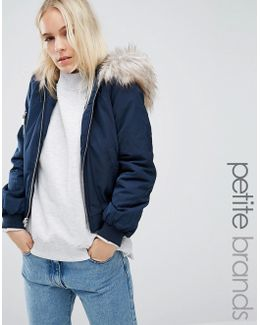 Faux Fur Hooded Bomber